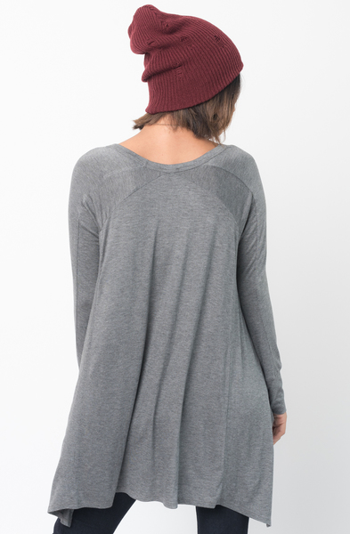 Shop for Charcoal V-Neck Asymmetrical Swing Tunic long sleeve on caralase.com