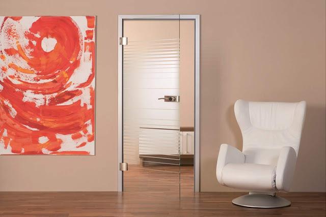Transparent door with art sandblasting