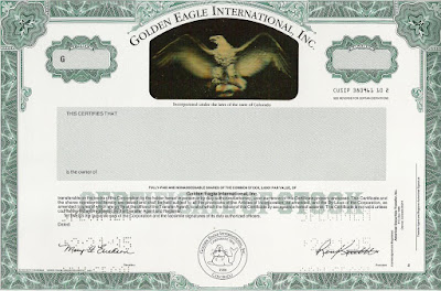 specimen stock certificate of the Golden Eagle International gold mining company, active in Bolivia, with hologram