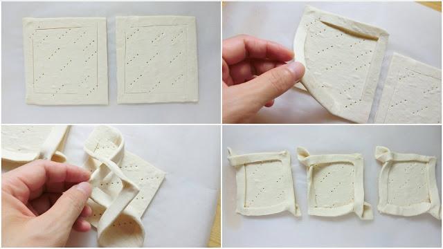 冷凍パイシートの長辺を半分に切り、フォークで数ヶ所突いて穴を開けたらフチから1㎝内側にL字に包丁で切れ込みを対角線上に入れます。  切れ込みを入れた端をもち、お互いを交差させて配置を移動します。 これを3個分作ります。