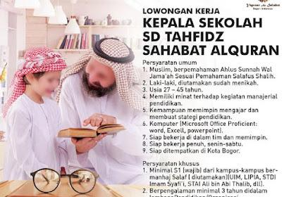 Lowongan Pekerjaan Kepala Sekolah di SD Tahfidz Sahabat Al-Qur'an di Bogor