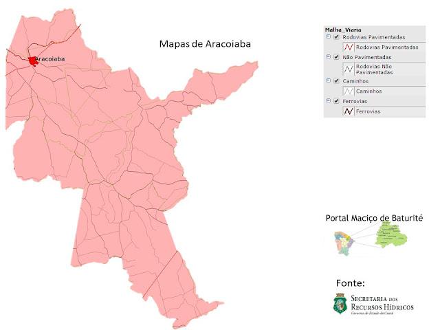 Mapas de Aracoiaba - Rodovias Pavimentadas - Não Pavimentadas - Caminhos - Ferrovias
