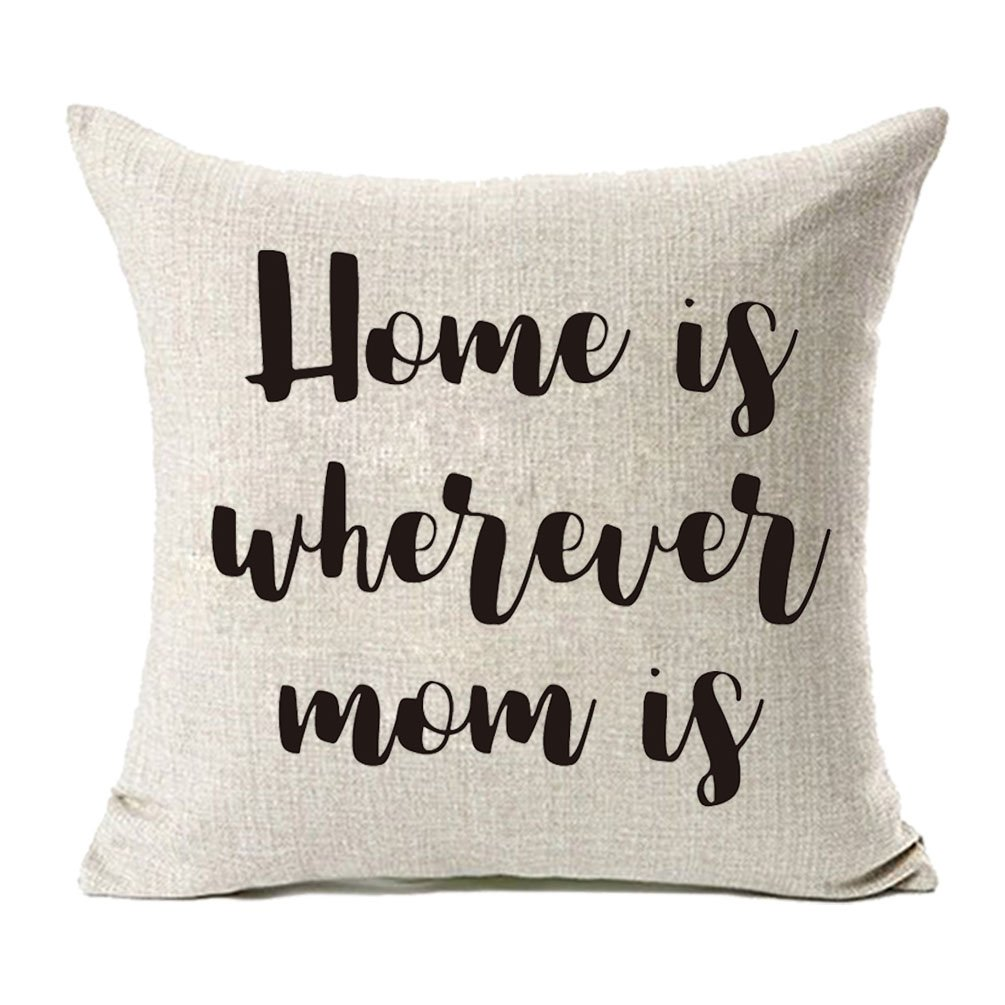 Wherever Mom is Cotton Linen Throw Pillow Covers