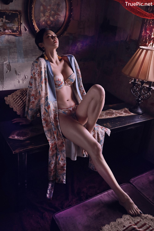 Image Korean Fashion Model - An Seo Rin - Floral Lingerie - TruePic.net - Picture-9