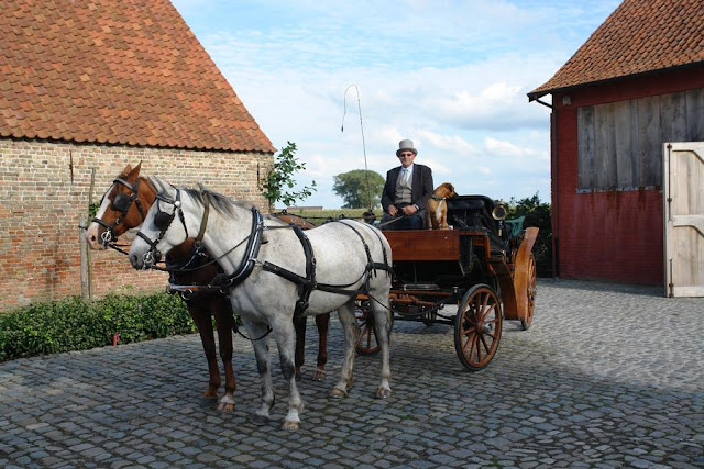 Horse Drawn Carriage for wedding party at Vaucelleshof, Garnier property Belgium, image via Garnier website as seen on linenandlavender.net