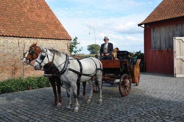 Horse Drawn Carriage for wedding party at Vaucelleshof, Garnier property Belgium, image via Garnier website as seen on linenandlavender.net