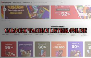 Cara cek tagihan listrik PLN online tanpa nomor hp di bukalapak - kanalmu