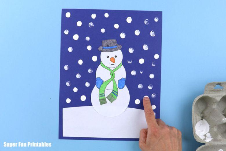 snowman scene winter craft for kids