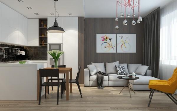 Blog Achados de Decoração. Pequeno apartamento cozinha integrada à sala lindo