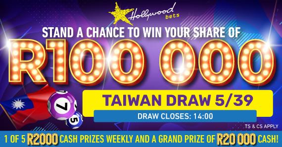 Taiwan Draw 5/39 - R100k to be won