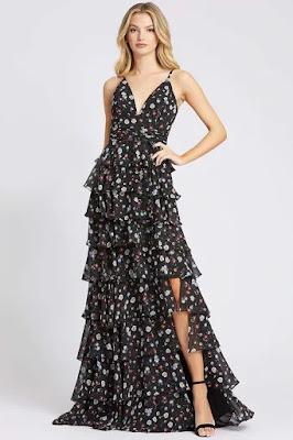 Floral Printed tiered enening dress Ieena For Mac Duggal Black floral color