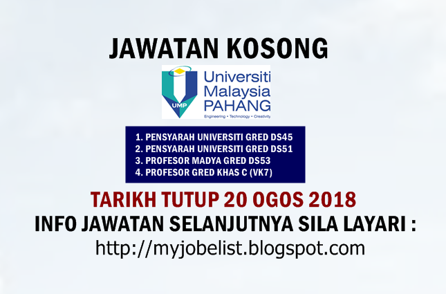 Jawatan Kosong Universiti Malaysia Pahang (UMP) ogos 2018