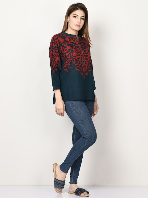 Limelight winter ready to wear blue and maroon printed short kurti