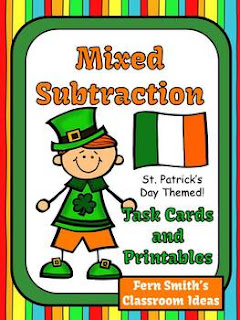 St. Patrick's Day Task Cards Subtraction
