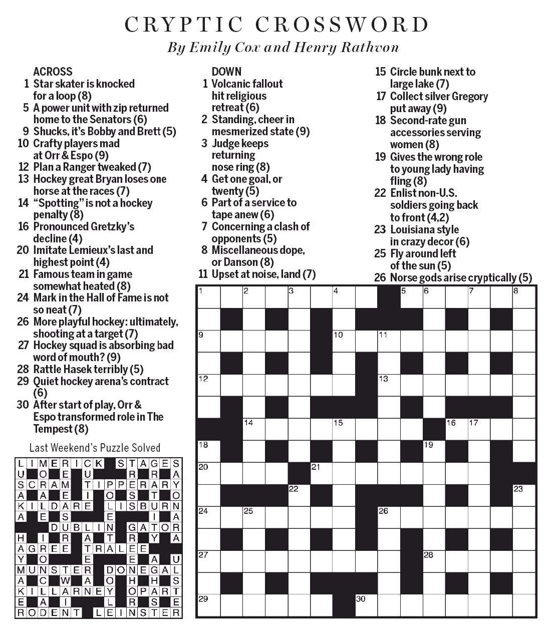 National Post Cryptic Crossword Forum Saturday March 21 2020 Game On Ice