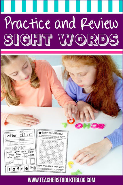 Students sitting at a table building sight words