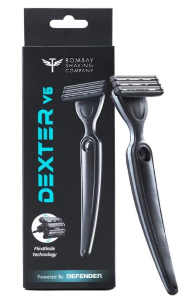 Dexter V6 Manual Razor for men (1 handle + 1 regular blade +1 cover) with FlexBlade Technology (Made in Israel)