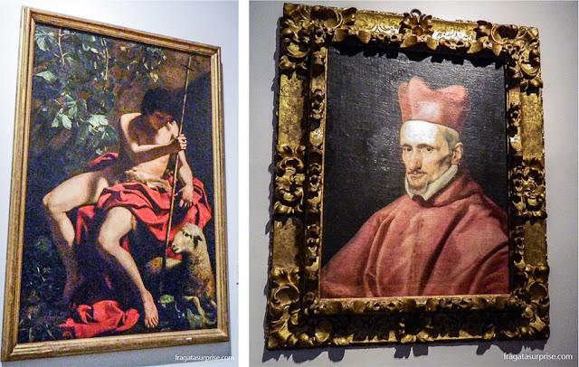São João Batista, de Caravaggio, e O Cardeal Bórgia, de Velázquez, na Sacristia da Catedral de Toledo