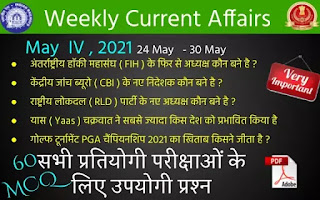 Weekly Current Affairs ( May IV , 2021 )