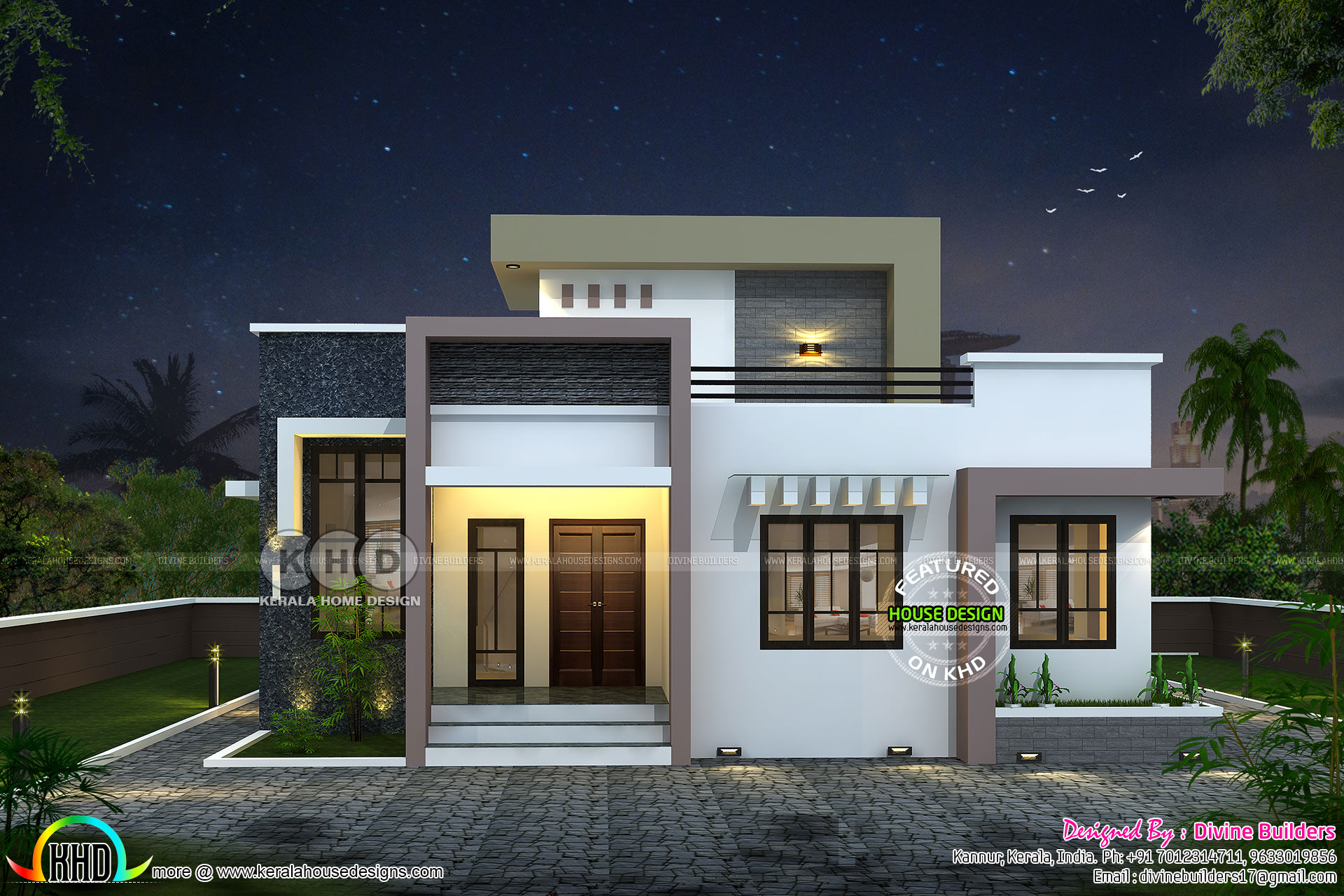 Stair room 2 bedroom house 1431 square feet kerala home for Indian small house design 2 bedroom