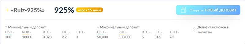 Инвестиционные планы RuizCoin 5
