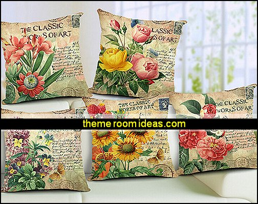 Floral Country Cotton/Linen Pillow Covers