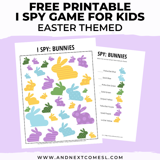 Free Easter I spy game printable