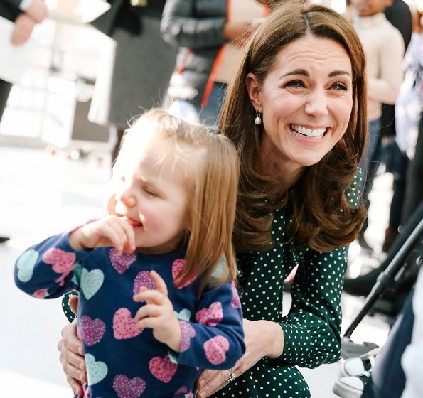 Kate Middleton wore LK Bennett Mortimer Dotted Silk Dress and carried L.K. Bennett Dora Khaki suede clutch