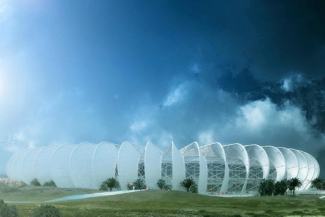 Rendering of new Grande Stade de Casablanca by SCAU, Casablanca, Morocco with the sky and landscape