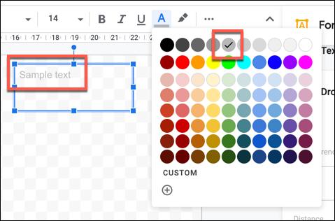 نموذج نص بلون فاتح أخف مطبق في رسومات Google