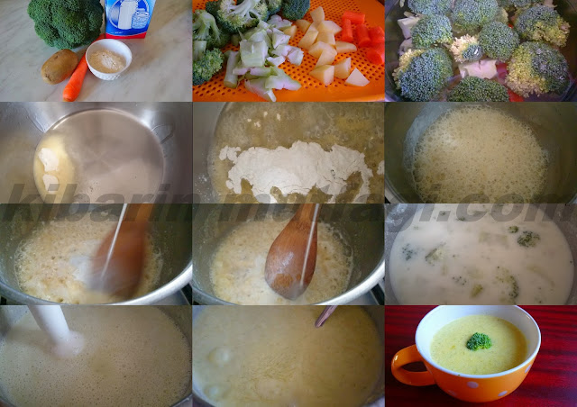 Brokoli çorbası için malzemeler   Yarım kilo brokoli  1 çorba kaşığı tereyağı  1 çorba kaşığı un 1 adet orta boy patates  1 adet orta boy havuç  2 su bardağı süt  5-6 su bardağı su  Yeter kadar tuz Arzuya göre Yarım su bardağı tavuk suyu