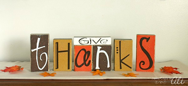 Give Thanks Wood Blocks Painted for decor display