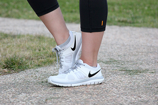 White Nike Running Shoes Workout Outfit