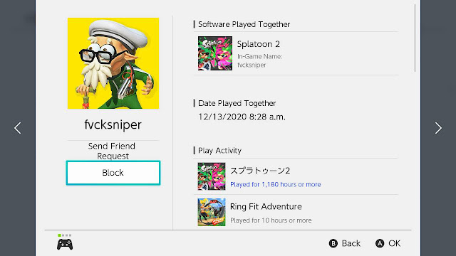 fvcksniper Nintendo Switch profile page block Splatoon 2