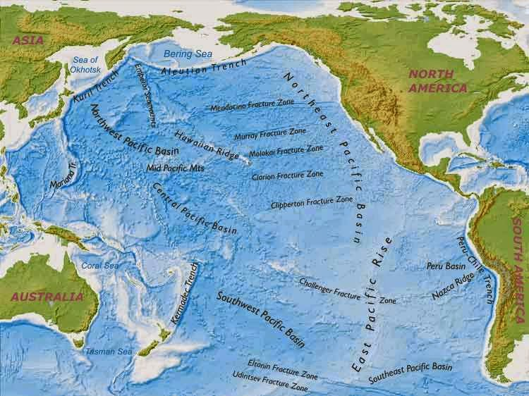 Pacific Ocean (Important Facts and Features for ... Pacific Ocean Underwater Map