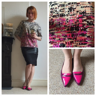 Warehouse Print Top, Warehouse Pleather Skirt, Boden Shoes