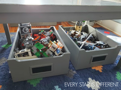 A Minimalist Montessori Home Tour: Built LEGO Set Storage