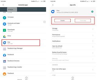 hapus aplikasi bawaan xiaomi dengan force stop dan disable app