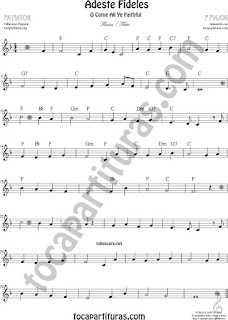 Flauta Travesera, flauta dulce y flauta de pico Partitura de Adeste Fideles en Fa Mayor O come All Ye FaithfulSheet Music for Flute and Recorder Music Scores