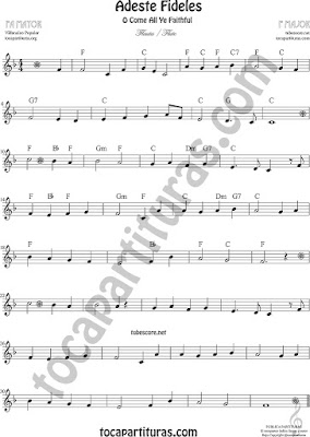 O come All Ye FaithfulSheet Music for Flute and Recorder in F Music Scores
