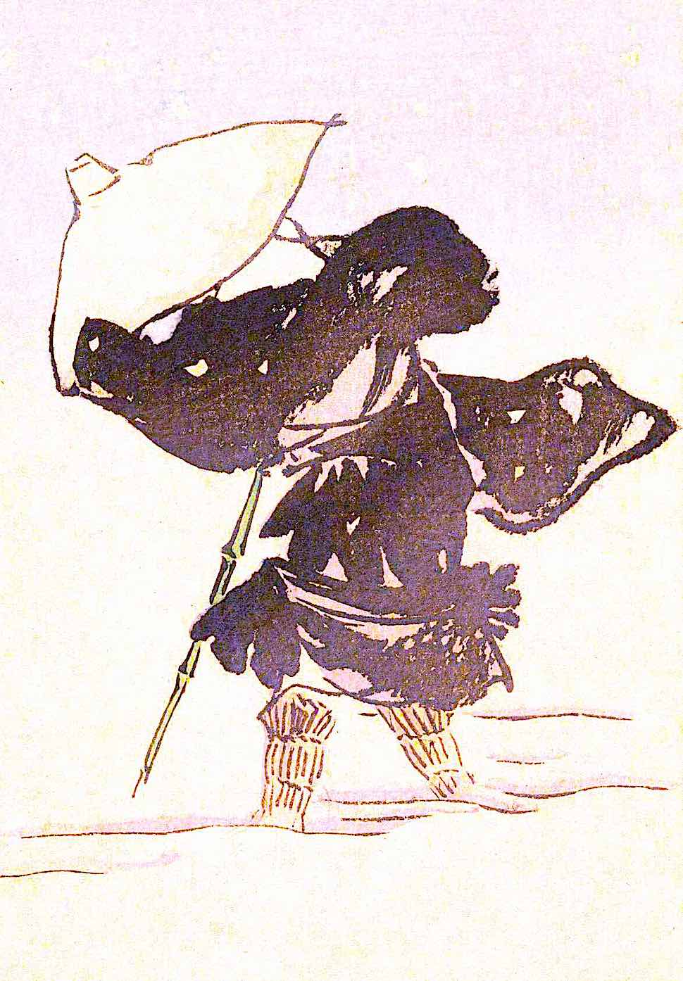 regular clothing in 1892 Japan, walking in a snow storm