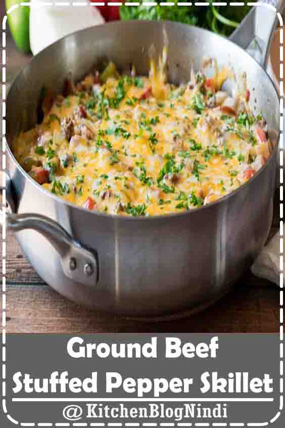 4.8★★★★★   This super easy Ground Beef Stuffed Pepper Skillet is made in just one pan in less than 30 minutes! All the flavors you love of a stuffed pepper without all the hassle! #Ground #Beef #StuffedPepper #Skillet