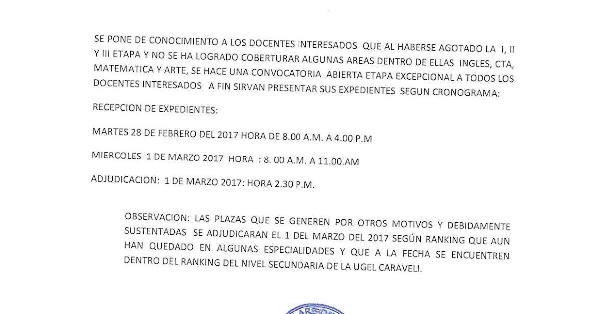 I ii y ii convocatorias p blica etapa excepcional for Convocatoria para plazas docentes 2017