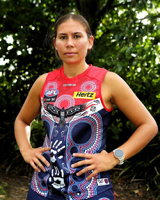 Krstel Petrevski in Melbourne AFLW indigenous jumper for 2021