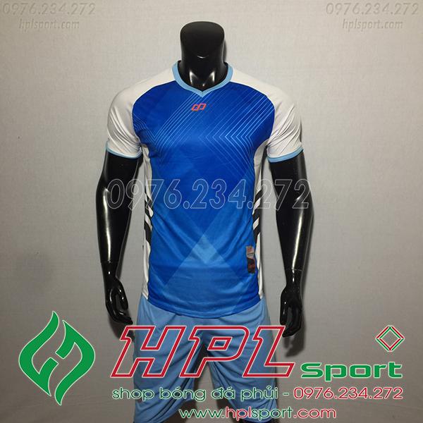 Áo bóng đá không logo CP Hro màu xanh