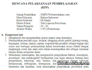 RPP Bahasa Indonesia Kelas 9 Semester 1 K13 Revisi 2019