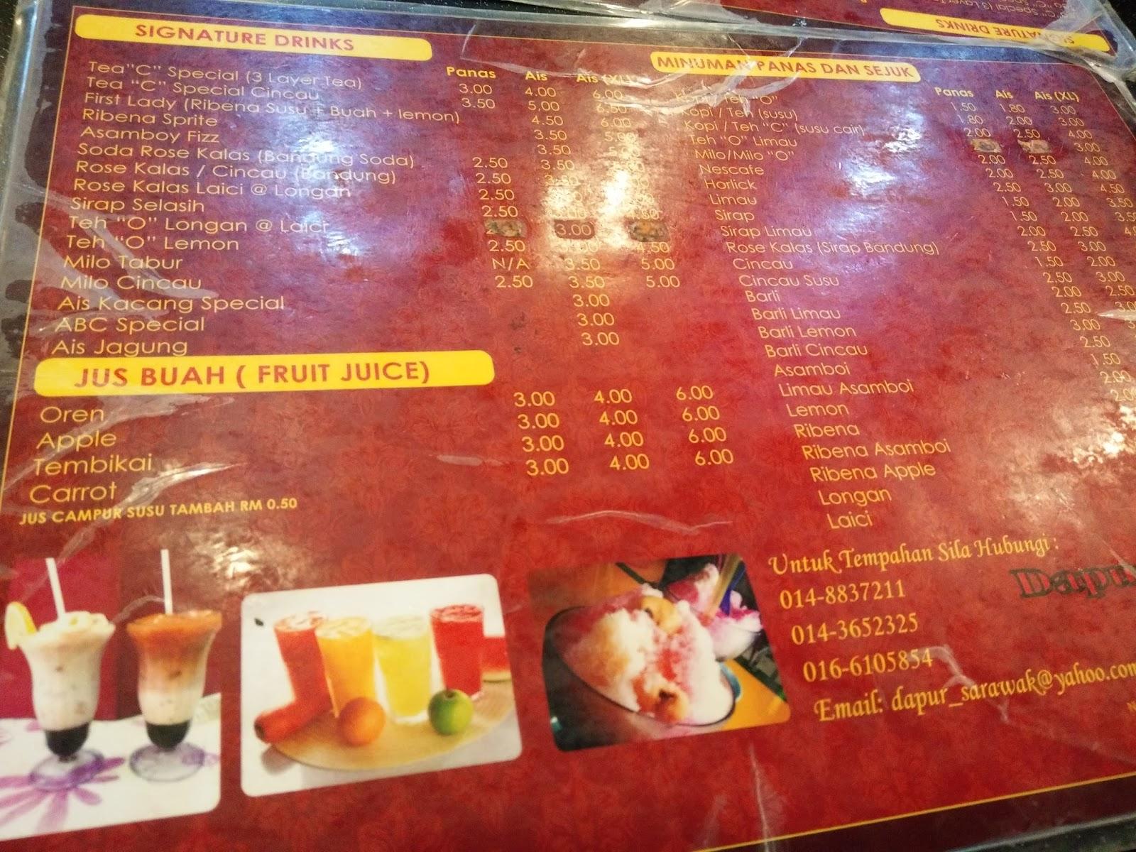 Menu Air Yang Terdapat Di Restoran Dapur Sarawak