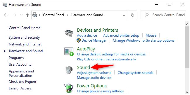 فتح خيارات الصوت في لوحة تحكم Windows 10