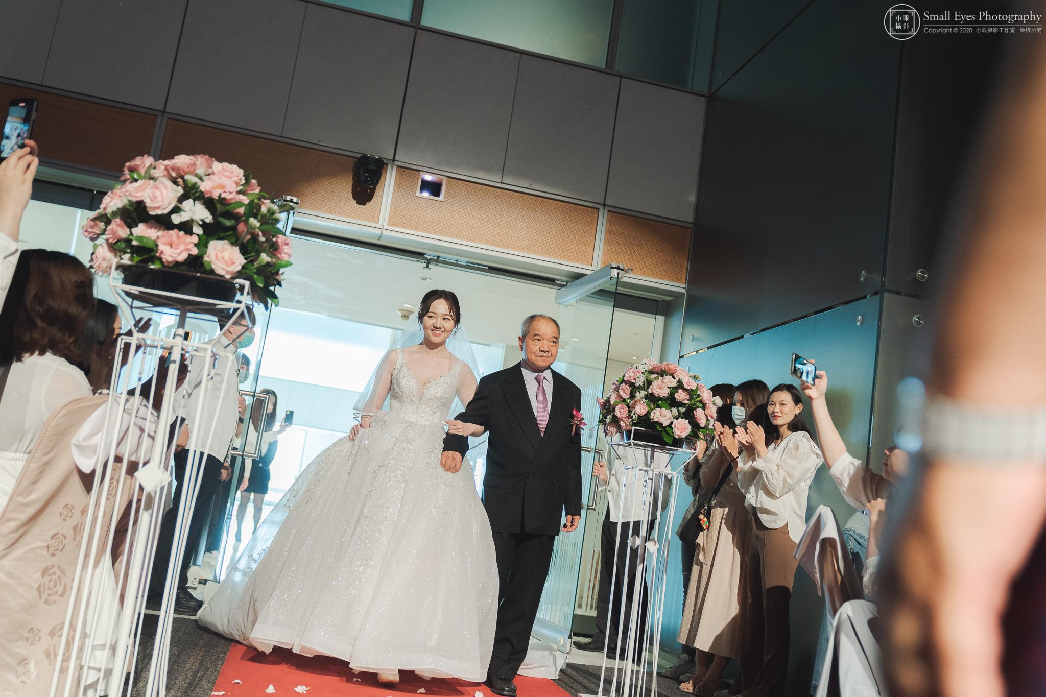 小眼攝影,傅祐承,婚禮攝影,婚攝,婚禮紀實,婚禮紀錄,台中,裕元花園,酒店,進場,新娘,父親