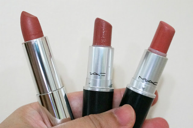 Comparison: (L-R) Maybelline Clay Crush, MAC Velvet Teddy, MAC Kinda Sexy
